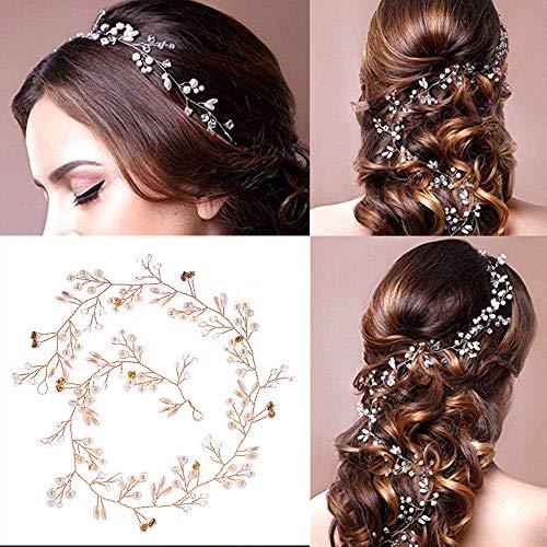 Cerchietto per capelli da sposa, stile vintage, con perle di cristallo e strass, accessorio per capelli per damigella d'onore, accessorio per donne e ragazze