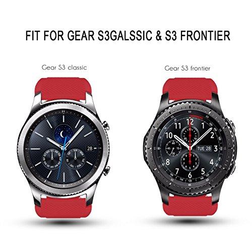 AMERTEER Samsung Gear S3 Frontier / Classic / Moto 360 2nd Gen 46mm Watch Armband – Silikon Sportarmband Uhr Band Strap Erstatzband Uhrenarmband für Samsung Gear S3 Classic Samrtwatch, Nicht für Gear S2 Classic, Red - 5