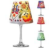 Retro Deko Lampenschirm für Glas Weinglas Teelicht LED Licht Tischbeleuchtung #1090 (blau)