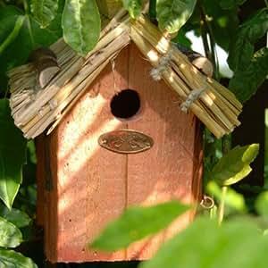 Esschert Design - Nichoir a oiseaux bois et paille - brun - 11 cm