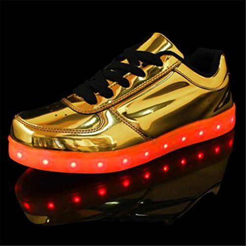 (Présents:petite serviette)JUNGLEST® Chaussures de Sports Baskets Lacet LED Clignotante avec 7 couleurs USB Rechargeable Lumineux PU Cuir verni Or A Or