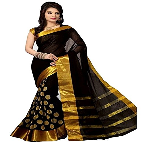 High Glitz Fashion Women's Cotton Saree With Blouse Piece (Ss::Hgf1085Uf_Black)