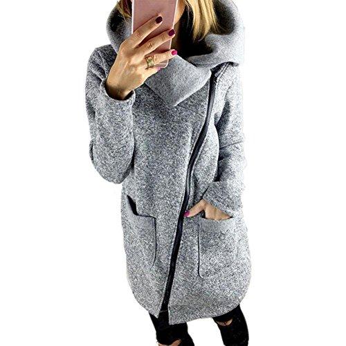 Sannysis Frauen Winter Warm Casual Hoodies Lange Reißverschluss Kapuzenpullover Jacke Mäntel (4XL, Grau) (In Voller Länge Cape)