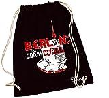 Sunnywall Turnbeutel mit Spruch | Verschiedene Sprüche & Designs auswählbar | Beutelfarbe: Schwarz | Rucksack | Jutebeutel | Sportbeutel | Rucksackbeutel (Berlin Wall | 110b)