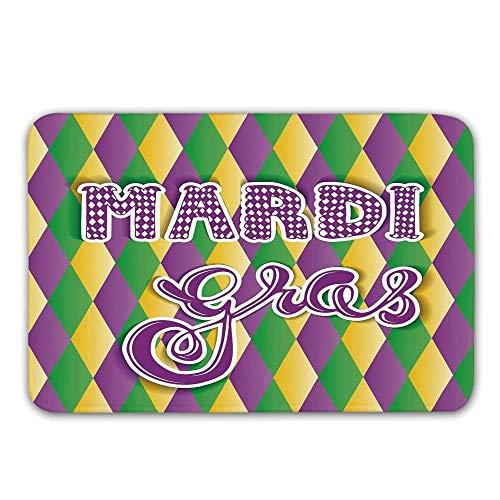Kinhevao Mardi Gras Rutschfester Eingangsgummiteppich, stilisierte Mardi Gras-Beschriftung auf klassischer Diamond Line-Hintergrund-Fußmatte für Badvorleger