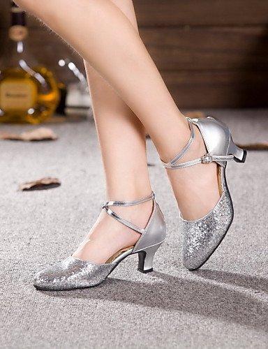 ShangYi Schuh Keine Maßfertigung möglich - Kubanischer Absatz - Leder / Lackleder - Lateintanz / Jazztanz - Damen Silver
