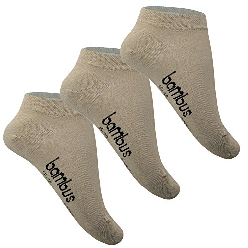 SGS 5-10 Bambus Socke Sneaker Herren Damen Bambussocken (39-42, 5 x Beige)