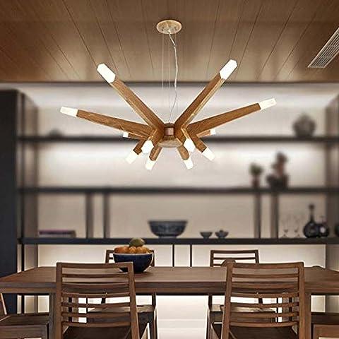 BBSLT Lustre en bois LED artistique , Lumière chaude