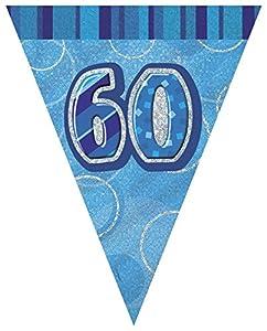 Unique Party- Banderines de 60 cumpleaños, Color azul, Edad (92086)