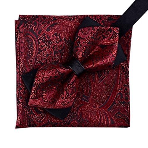 Herren Jacquard-Muster Fliege Set Einstecktuch f?r Partei / Hochzeit tragen, Rot Rote Paisley Bowties