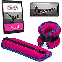 Pesas de tobillo o muñeca 1 kg cada una + Aplicación de fitness + e-book en español