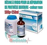 RÉSINE DENTAIRE PROFESSIONNELLE POUR LA RÉPARATION DE PROTHÈSE DENTAIRE KIT 500g+250ml (ROSE)