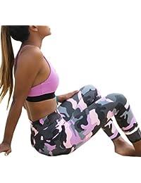 K-youth® Mujer Camuflaje Deportes Yoga Entrenamiento Gimnasio Ejercicio Pantalones Atléticos Mujer Pantalones elásticos de yoga para Running Fitness