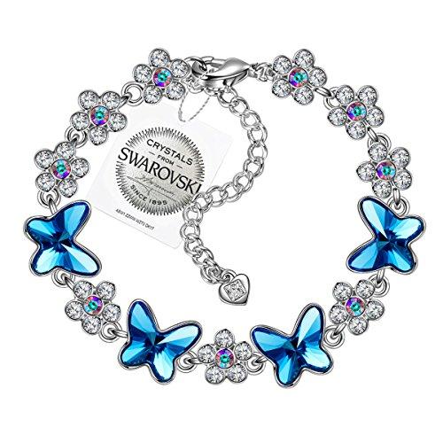 PAULINE&MORGEN Freude am Frühling Armband für Damen mit SWAROVSKI Steinen Blauer Schmetterling (Schmetterlings-armband)