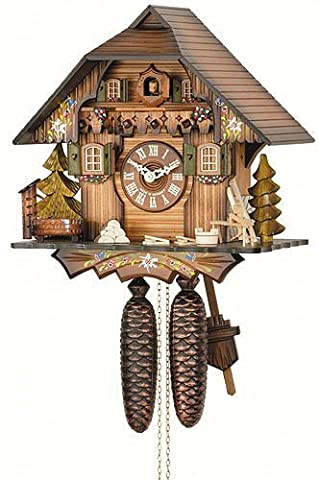 German Cuckoo Clock 8-day-movement Chalet-Style 13 inch - Authentic black forest cuckoo clock by Hekas by Kammerer Uhren Hekas
