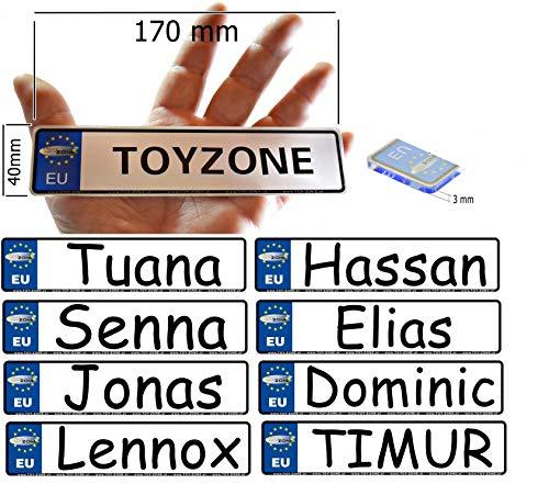 A-Max EU Kinder Nummernschild Party Schilder KFZ Namenschilder Kinderfahrzeug Schilder personalisiert 170mm x 40mm mit Klebestreifen auf der Rückseite