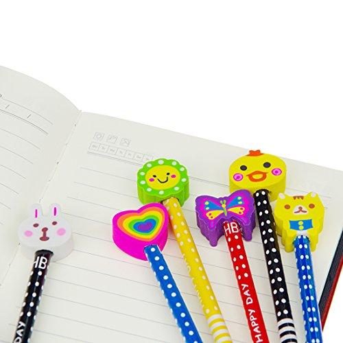 Set matita del fumetto, Attiant 40 Pcs matita in legno con gomma matite grafite colorate con gomme, Materiale Scolastico Regalo dei Bambini, for festa di compleanno bambini party Festival - 6