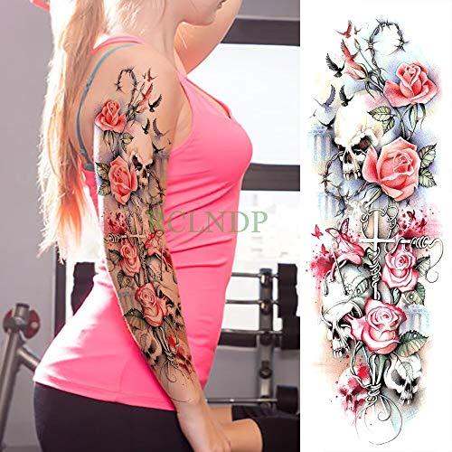 Temporäre Tätowierung Aufkleber Karpfen Fisch Blume voller arm gefälschte Tatto Flash Tatoo ärmel große größe für mädchen männer Frauen lad 3 stücke ()
