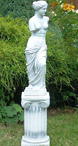 Unbekannt Deko Garten Figur Statue Venus von Milo auf ionischer Säule als Satz Skulptur aus Beton Gesamthöhe 91 cm