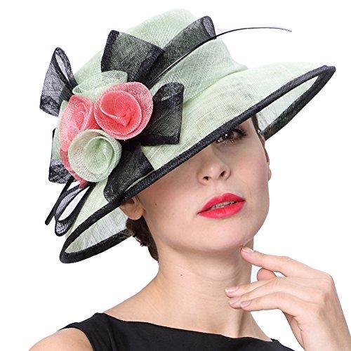 Koola's hats Damen 3 Schichten Sinamay Tea-Party-Hut Sonnenhüte Derby-Hüte Ascot-Rennen
