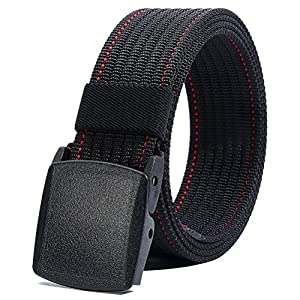 """Nylon Belt Men, Military Tactical Belt with YKK Plastic Buckle, Durable Breathable Waist Belt for Work Outdoor Cycling Hiking Skiing,Adjustable for Pants Size Below 46inches[53""""Long1.5""""Wide]"""