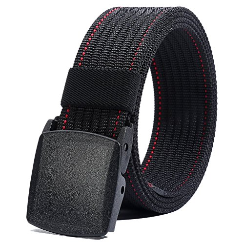 Nylon Belt Men, Military Tactical Belt with YKK Plastic Buckle, Durable Breathable Waist Belt for Work Outdoor Cycling Hiking Skiing,Adjustable for Pants Size Below 46inches[53