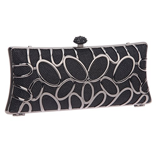 Bonjanvye Hand Baguette Party Clutch Bag for Ladies Evening Party Silver Black