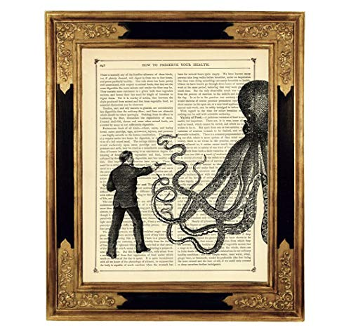 Steampunk Herr vs Oktopus Kraken Pistole Kunstdruck auf viktorianischer Buchseite Tentakeln Geschenk...