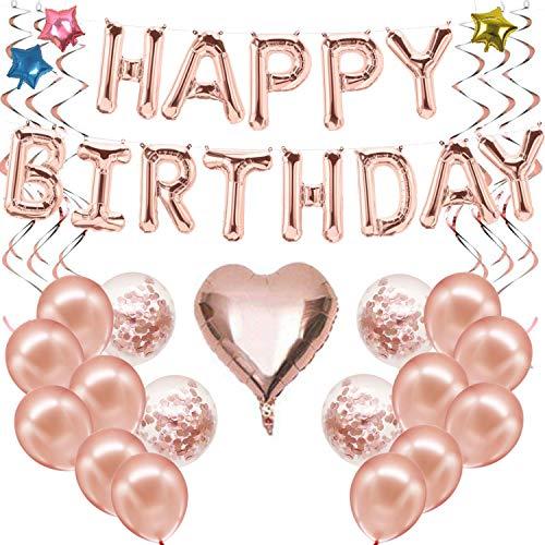 Ohighing Happy Birthday Ballon Rose Gold Girlande Geburtstagsdeko Mädchen Folienballons Rosegold Konfetti Luftballons Spiralen Geburtstag Deko Set