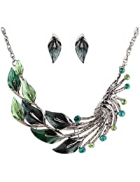 19 Likes Trendy Fashion Green Metal Alloy Jewellery Set With Necklace And Earring For Girls