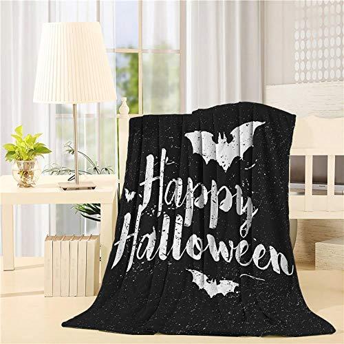WWTZ Modernes Zuhause Happy Halloween Fledermaus Schwarz-Weiß-Kunstdrucke Fleecedecke Bettwäschedecke (Halloween Weiß Schwarz Happy Und)