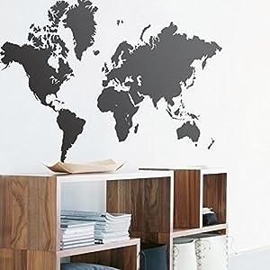 Zooarts Pegatina Decorar la Pared, de Vinilo, Grande, despegable, de Color Negro y con un diseño del Mapa del Mundo
