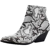 Levifun Stiefeletten Damen Chelsea Boots Ankle Leder Blockabsatz Kurzschaft Stiefel Absatz Schuhe Kurze Stiefel Snake Ankle Boots Damen Stiefel mit Mittlerem Absatz Winter Elegant Gr.35-43