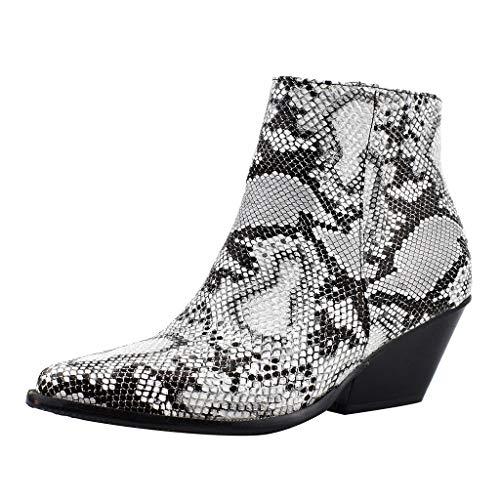 feiXIANG Damen Booties Schlange Drucken Ritter Stiefel Casual Boots Blockabsatz Schuhe Party Club Freizeitschuhe (Weiß,43) -