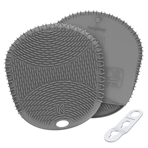 KozyGear Premium 227 ° C Hitzebeständige Silikon Topflappen Handschuh Ofenhandschuhe 1 Paar für heiße Töpfe, Gebäck, Grillen, Backen, Rutschfest, wasserdicht(Grau [Z-4])