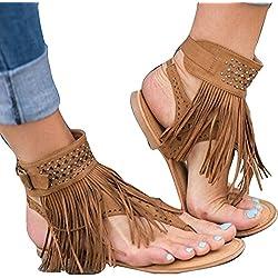 Señoras De Las Mujeres Summer Boho Sandals Zip Zapatos De Peep-Toe con Borlas Zapatos Chanclas Verano 2018