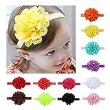 12x Baby Girl Headband Lace Flower Hollow Stretchy Hairband Kits