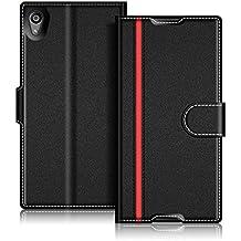 Funda Sony Xperia Z5, Coodio Funda Cuero Xperia Z5, Funda Cartera Sony Xperia Z5, Funda Billetera Wallet Case, Cierre Magnético, Ranuras para Tarjetas, Soporte Plegable Para Sony Xperia Z5, Negro/Rojo