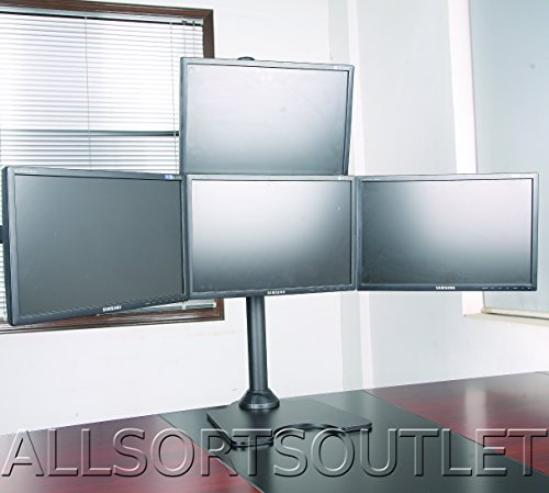 Quad Quadruple 4 Pyramid (3 + 1) LCD LED TFT Computer Monitor Desk Stand Mount Free-standing Fully Adjustable Heavy Duty 3 Screens 15