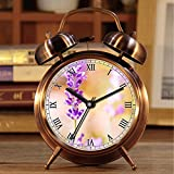 Wecker, Retro Portable Twin Bell neben Wecker mit Nachtlicht 455. Lavender lila Blüte Blüte
