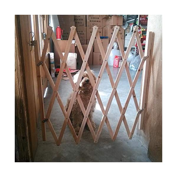 Pet Expanding Wooden Fence Gate,Retractable Dog Screen Sliding Door Gates Doorways Freestanding Portable Dog Cat Gate Safety for Home Patio Garden Lawn cheerfulus-123 Pet Wooden Door Fence: The wooden fence gate allows pets to stay away from dangerous areas while providing a safe fence for play and rest Retractable Dog Gate: The length is about 60-110cm,the distance that can be stretched when used,can be shrunk when not in use Easy Installation: The wood pet fence has two screws fixed on one side, and the other side is designed as a buckle for easy access 2