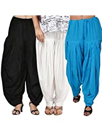 Rooliums (Brand Factory Outlet) Full Patiala Cotton Salwar Combo 3 Free size (Black, White and Sky Blue)