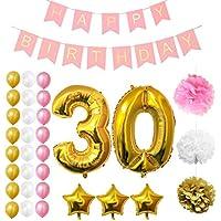 Globos Cumpleaños Happy Birthday #30, Suministros y Decoración por Belle Vous - Globo Grande de Aluminio 30 Años - Decoración Globos De Látex Dorado, Blanco y Rosa - Apto para Todos los Adultos