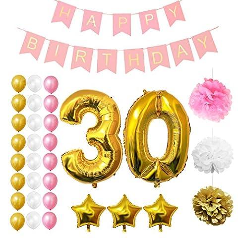 30. Geburtstag Luftballons Happy Birthday Banner Party Zubehör Set & Dekorationen von Belle Vous ? Große Folienballons für den 30. Geburtstag ? Gold, Weiß & Pink Latex-Ballon-Dekoration - Dekor für alle Erwachsenen geeignet