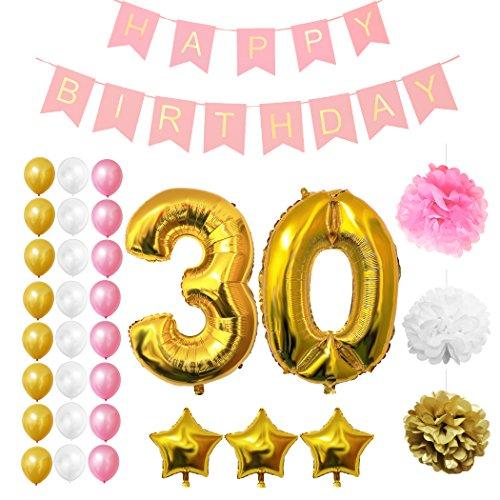Luftballons u. Dekoration zum 30. Geburtstag von Belle Vous - 32-tlg. Set - Großer 30 Jahre Luftballon - 30,5cm Gold, Rosa u. Weiße Dekorative Latexballons - Dekor für Erwachsene (Zebra-geburtstag)