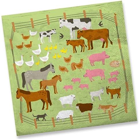 20tovaglioli * fattoria * Per bambini compleanno//Festa a tema bambini festa di compleanno animali Farm Bambino Party Farm Napkin tovaglioli di carta - Monouso Tovagliette Bambini
