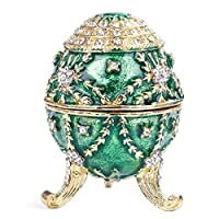 HAOCHIDIAN Jewelry Organizer Portable Hand Painted Enameled Faberge Egg Sculpted Figure Vintage Style Decorative Hinged Metallic Jewelry Trinket Box