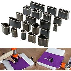 Yosso - Juego de herramientas de 39 piezas para cuero, moldes de metal, perforadoras, punzones troqueladores para marroquinería artesanal con caja