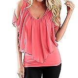 SUNNOW® Elegant Damen T-Shirt Casual kurzarm dünne Fedemaus Ärmel Chiffon Tops Bluse Sommer (EU 42(M), Rosa)