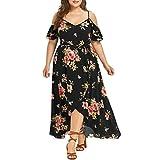 OYSOHE Damen Schulterfrei Große Größe Kleid, Neueste Frauen Sexy Mini Plus Size Camisole Blumendruck Kleid Damen Freizeitkleidung (XXXXXL, Schwarz-1)